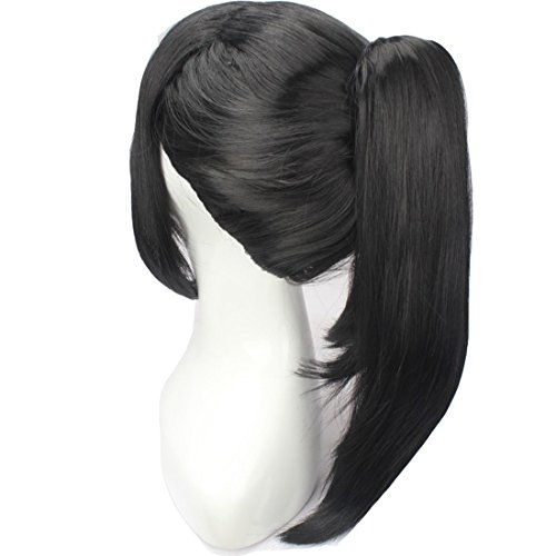 WeKen Black Hair Cosplay Wig with High Ponytail Straight