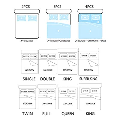 REALIN Cartoon Penguin Series Duvet Cover Set Suitable for Children and Girls Bedding Blue Bed Sets 2/3/4PCS Quilt Covers/Sheets/Pillow Shams,Twin/Full/Queen/King (A,Full-200x229cm-4PCS): Home & Kitchen