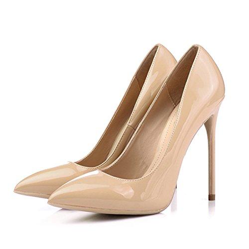 OL Chaussures Ladies Mariage 12CM Pompes Chaussures Talon Astuce De Nude Printemps Talons 12cm Femmes Nude Hauts Court Stiletto xEnXd4xRO