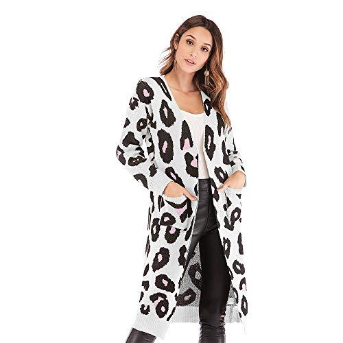 Vintage Blanc Outwear Léopard Femmes Veste Manteau Mode Manches Cardigan Chaud Confortable Casual Automne Fille Poches Tricoté Avec Lâches Des De Long Élégantes Hiver 4R1xqE