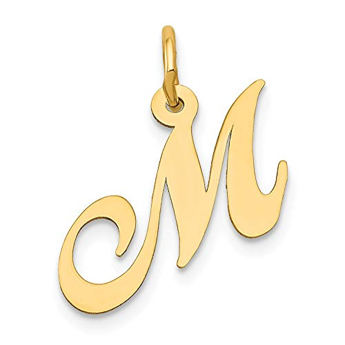 JewelrySuperMart Collection 14k Yellow Gold Cursive Script Initial Pendant - Letter M - Yellow Gold ()