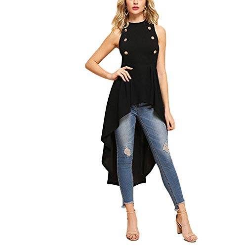 (COOCOl Double Button Asymmetrical Embellished Dip Hem Shell Round Neck Blouse Summer Women Shirt Top,Black,S)