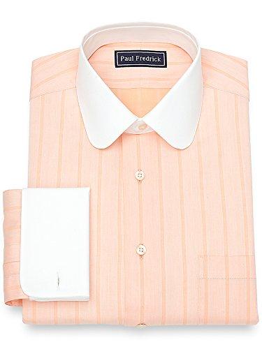 Paul Fredrick Men's Cotton Herringbone Stripe Dress Shirt Apricot 15.5/33