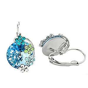 NEOGLORY Jewelry Platinum Plated Big Bold Blue Crystal with Delicate Flower Tear Hoop Earrings Women Jewelry Gift
