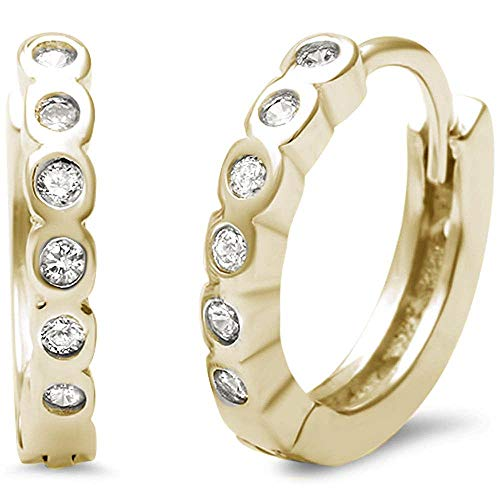 Bezel Set Cubic Zirconia Round Hoop Huggie Earring Gold-Tone Plated Sterling Silver ()