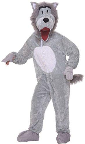 Forum Novelties Men's Storybook Big Bad Wolf Plush Mascot Costume, Gray, Standard ()