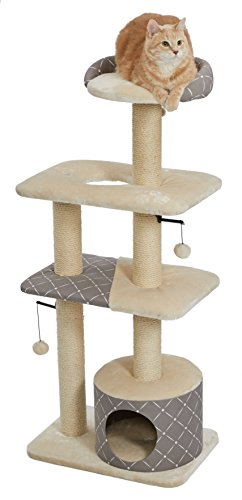 MidWest Homes for Pets Cat Tree | Tower Cat Furniture, 5-Tier Cat Tree w/Sisal Wrapped Support Scratching Posts & High Cat Look-Out Perch, Mushroom/Diamond Pattern, Large Cat Tree