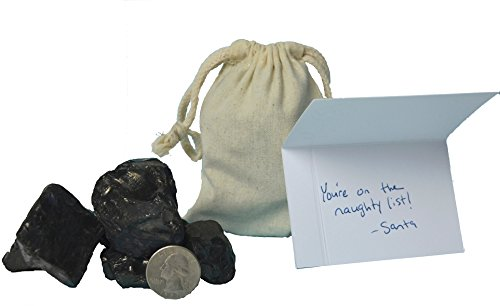 Real Lumps of Coal in Cloth Gift Bag with Fancy Naughty List Gift Card 4x6