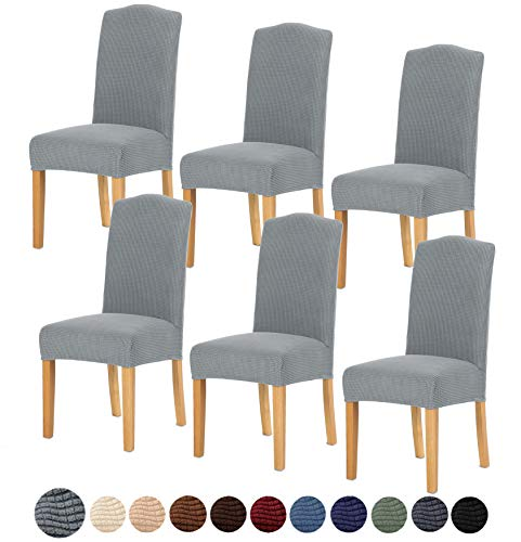 TIANSHU Stretch Chair Cover for Home Decor Dining Chair Slipcover (6 Pack, Light Gray)