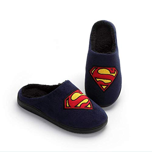SFHK Superman Slippers,Home Winter Cotton Flip Flop,Thicken Keep Warm Wear Resistant Non-Slip Couple Indoor Slipper,43/44 for $<!--$27.00-->