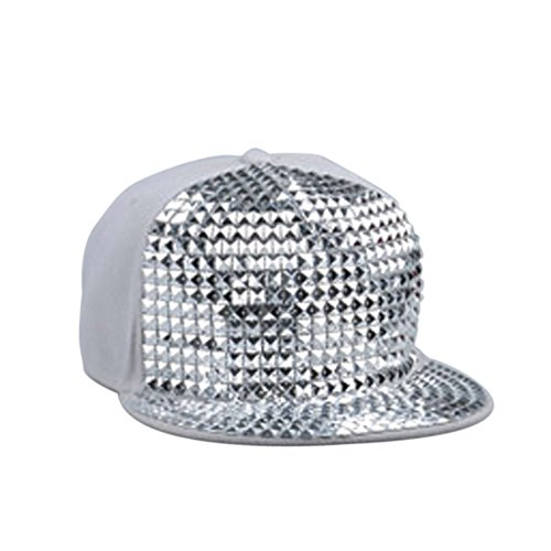 Dealzip Inc® Cool Pyramid Plastic Studs Bling Flat Hip Hop Cap Rivet Spikes Hat Rock Punk-Grey+Silver (Basic Bling Grey)
