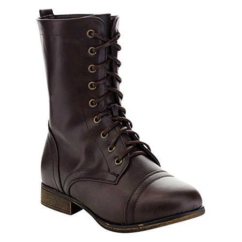 Brown Combat Boots For Girls (Link Beyonce-62K Girls Lace Up Combat Boots,Brown,1)