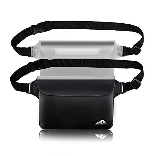 HEETA Waterproof Pouch, Screen Touch Sensitive Waterproof Bag with Adjustable Waist Strap - Keep Your Phone and Valuables Dry - Perfect for Swimming Diving Boating Fishing Beach Black & White L