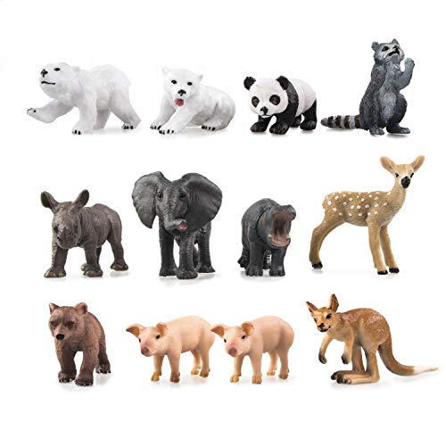 TOYMANY 12PCS Zoo Animal Figurines, High Emulational Detailed Baby Animals Figures, Education Birthday Gift Christmas Toy Set for Kids Children