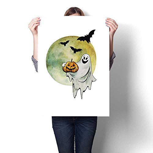Anshesix Modern Canvas Painting Wall Art Halloween Ghost with Pumkin Bats and Moon Hand Drawn Watercolor Illustration Isolated on White Background Wall Stickers 24