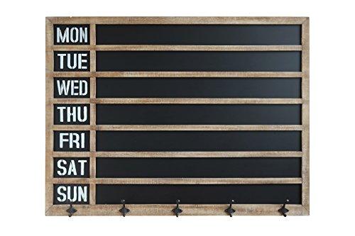 Creative Co-Op Weekday Wall 5 Metal Hooks Chalkboard Calendar, Grey (Basket Rustic Chandelier Wood Wire And)