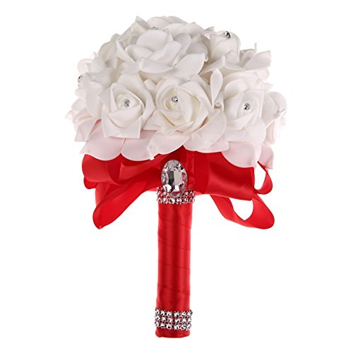 (Colorful Foam Roses Artificial Flower Wedding Bride Bouquet Party (Red+White ))