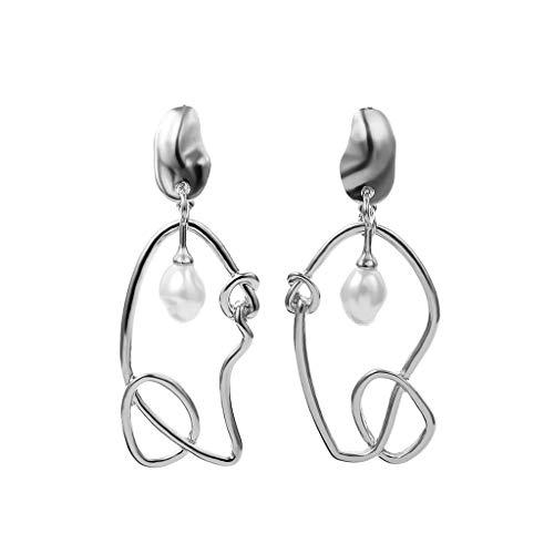 (Women Asymmetrical Geometric Shaped Earrings Simple Imitation Pearl Earrings)