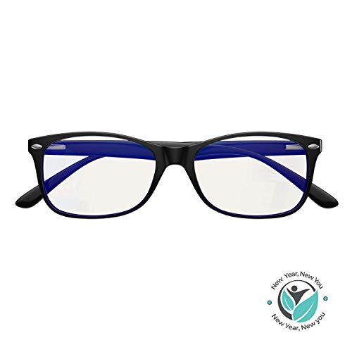 Blue Light Blocking Glasses for Computer and Gaming Daytime Use by Swanwick - Anti Eye Strain & Dry Eye Relief (Black) Regular