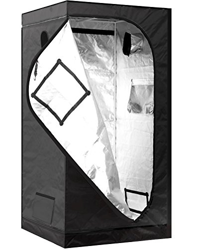 iPower GLTENTS1 Mylar Hydroponic Tent for Indoor Plant Growing, 3, 36' x 36' x 72', black and silver
