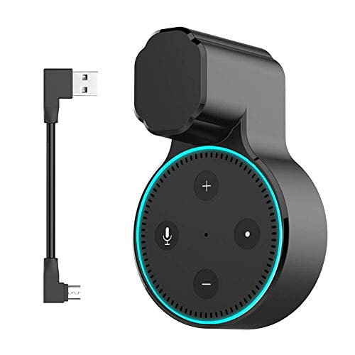 MTSmart Outlet Wall Mount Stand for Home Speaker (Dot 2nd Generation),Holder Hanger Bracket Case for Home Voice Assistants, Space Saving Accessories Without Messy Wires or Screws- Black 1 Pack
