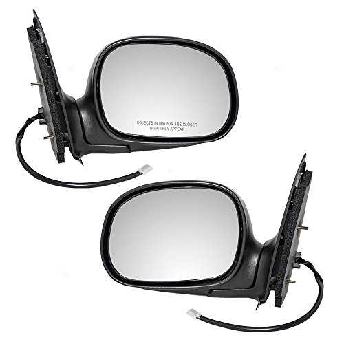 Chrome Set Side Mirrors - Pair Set Power Side View Mirrors w/Adapter & Chrome Covers 97-03 Ford F-150 97-99 F250 Light Duty Pickup Truck Replaces F85Z17683FAB F85Z17682FAA