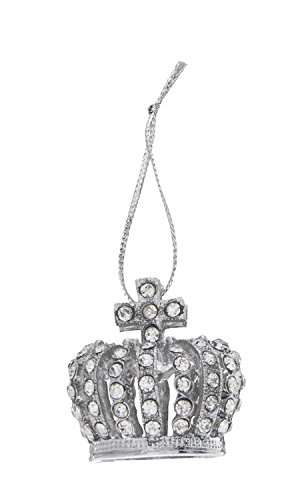 3-Dimensional Royal Crown Rhinestone Christmas Tree Ornament with Clear Crystals