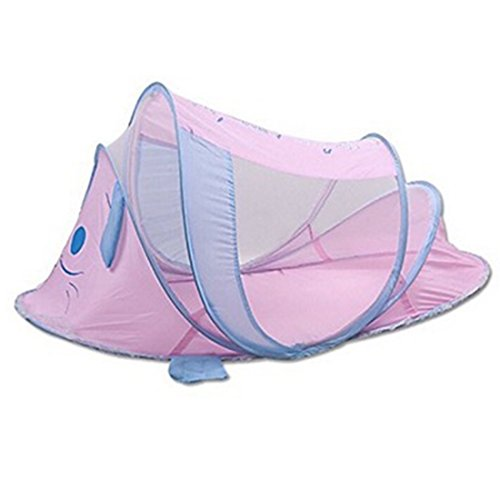 Infant Bassinet Steel (Pop Up Children Folding Sleeping Bed Playpen Baby Playard Great Gift for ANY AGE Group Children Indoor Outdoor Easy Folding Tent Easy up Sun Shelter Fishing/beach/outdoor Tent Keep From Insects and Mosquitoes Pink Dog)