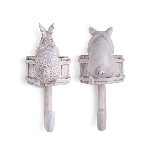Coat Hooks-Vintage Nostalgic Resin Home Hat Key Hooks Single Wall Hook Hanger Rack Animal Shaped, Home Decor,Decorative Gift (Pig&Rabbit) (Hooks Resin)