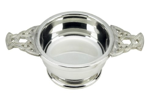 Aerator Pewter - Celtic Weave Handle English Pewter Quaich Bowl Made in England Toasting Cup