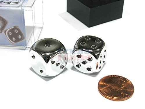 Silver Plated 16mm 6 Sided Dice 2 in Box by Chessex - Metal Dice Chessex