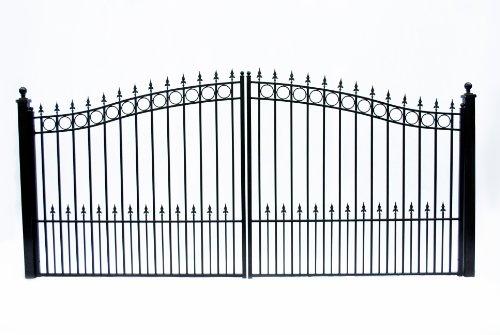 ALEKO DG18PRAD Prague Style Dual Swing Galvanized Steel Driveway Security Gate 18 x 6 Feet Black ()