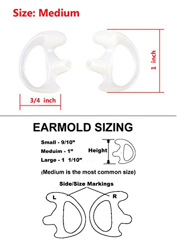 Xfox EM0501 Medium Silicone Earmold Earbud One Pair (Left/Right) for all Two-Way Walkie Talkie Radio Air Acoustic Coil Tube Earpiece Headphone Accessories Kits(Meduim, Clear, 1 Pair)