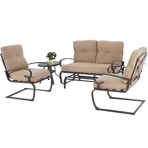 Oakmont Outdoor Furniture Patio Conversation Set Glider Loveseat, 2 Chairs with Coffee Table Spring Lounge Chair Sets Heavy-Duty Metal Frame (Brown)