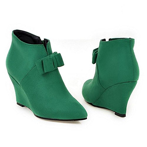 Green Women's Wedge TAOFFEN Boots Ankle RIfqxxdBw