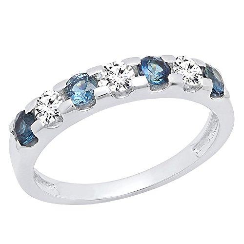 14K White Gold Round 3.20 MM Blue Sapphire & White Diamond Ladies Wedding Band (Size 6)
