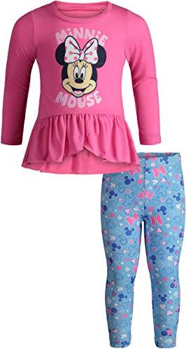 Disney Minnie Mouse Toddler Girls Long Sleeve Ruffle Tunic Shirt & Legging Set (Pink, -