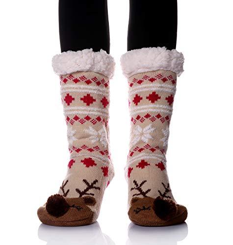 f50dafd652a Women s Super Soft Warm Winter Animal Fuzzy Fleece Lined Crew Slipper Home  Socks