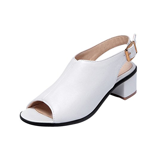 Heel Carolbar Sandals Chunky White Toe Buckle Slingback Mid Fashion Womens Peep Retro rFrv4np