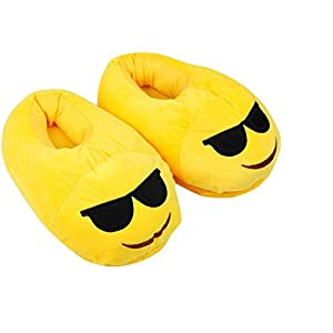 Rencontre Uriel Cute Emoji Slippers, Warm Cozy Soft Winter Household Indoor Shoes Size 5-9 (Sunglasses)