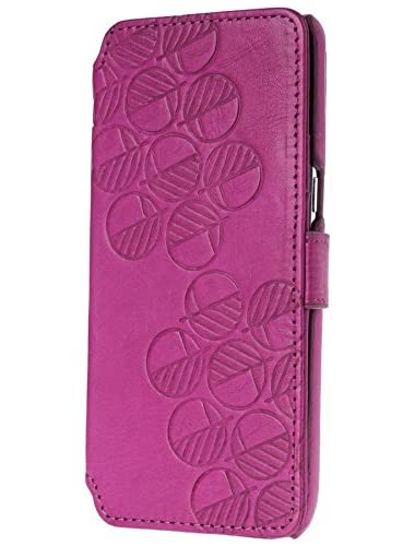 Drew Lennox Samsung Galaxy Leather Wallet Case British Real Leather from Somerset Silver Embossed Gift Box Buttery Soft Fuchsia Pink