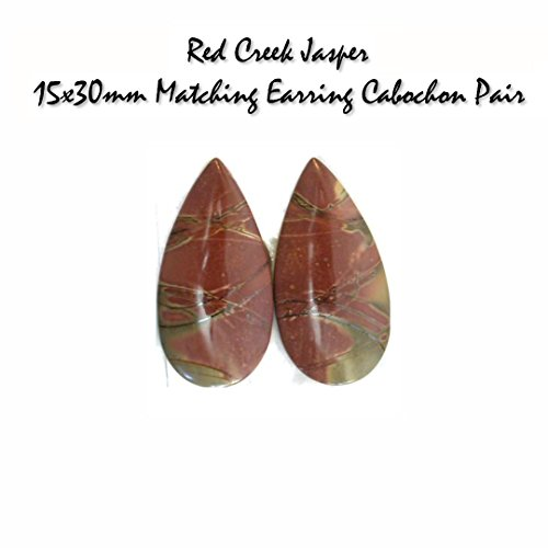 StonesNSilver Gemstone Cabochons Genuine Red Creek Jasper Matching Earring Cabochon Pair (pkg of 2 matching stones), UNDRILLED for Jewelry Making
