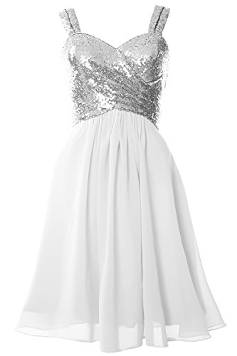 MACloth Gorgeous Sequin Short Bridesmaid Dress Cowl Back Cocktail Formal Gown Silver-White UOLdK5F0R