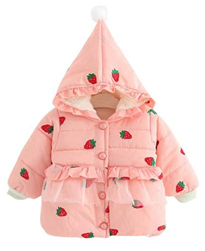 LOTUCY Baby Girls Strawberry Print Winter Warm Hooded Peacoat Windproof Jacket Outwear Size 6-12 Months/Tag80 (Pink)