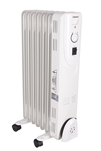 Viasonic 1500W Electric Portable Oil Filled Radiator Heater - 7 Fin - Multi-Setting - ETL Listed - White Oil Filled Heaters Promo Power Group