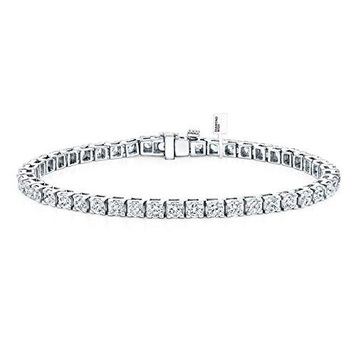 Diamond Wish 14k White Gold Round Cut Diamond Tennis Link Bracelet 4-Prong (10 cttw, J-K, I2-I3)