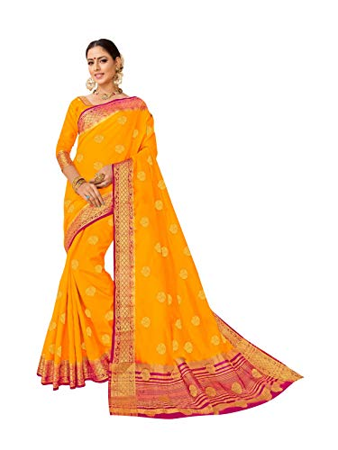 Viva N Diva Sarees for Women's Banarasi Art Silk Mustard Orange Zari Woven Butti with Border Saree with Un-Stiched Blouse Piece,Free Size