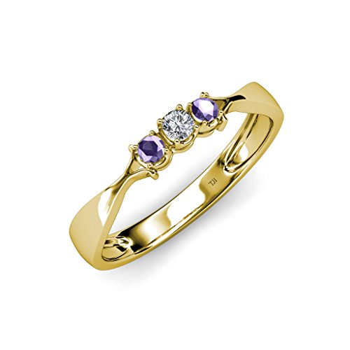Iolite and Diamond (SI2-I1, G-H) Three Stone Ring 0.16 ct tw in 14K Yellow Gold.size 8.0