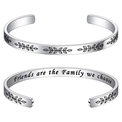 M MOOHAM Friends are Family We Choose Bracelet - Friendship Bracelet Birthday Christmas Jewelry Gift for Best Friend, for Women Bracelets