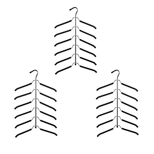 JOANNA'S HOME Friction Blouse Tree Hangers Space Saving Hangers Clothes Organizer - 6 Layer Black Chrome Closet Clothes Hanger - 3 Pack -